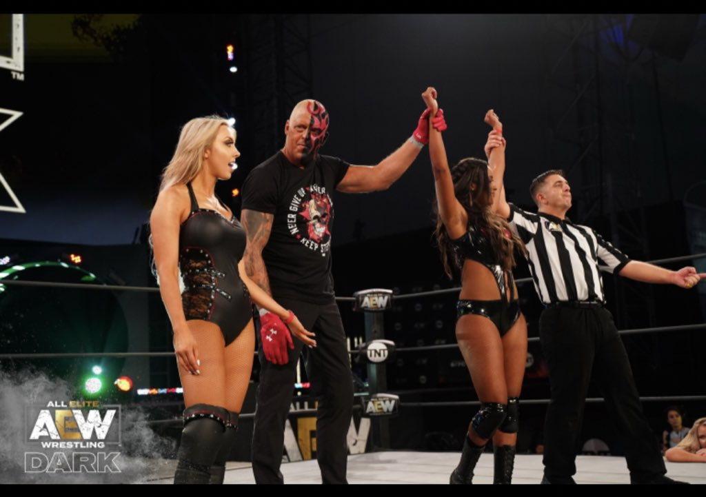 Something pretty wicked is happening with these 2. I think the world needs to see some more. If you watched #AEWDark tonight, youll understand where I am coming from. #BeCautious #DontMessWithFamily @TheBrandiRhodes @AllieWrestling @RefAubrey