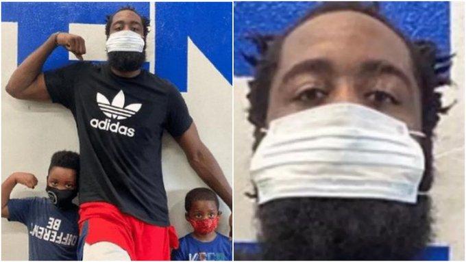 哈登終於戴上口罩了!場面卻十分尷尬,這樣的大鬍子兩個口罩也不夠用!-黑特籃球-NBA新聞影音圖片分享社區