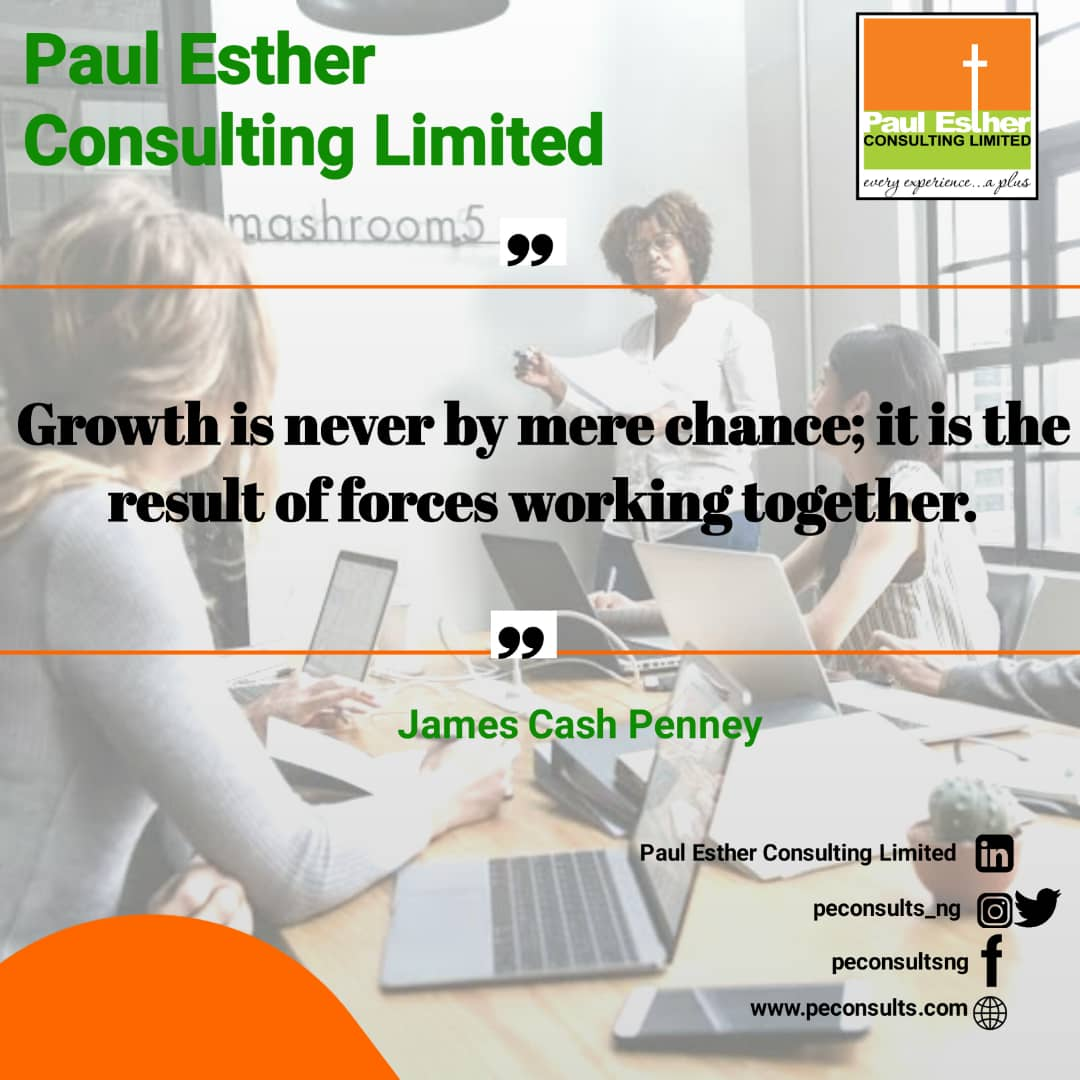 "#wednesdaywisdom   ""Growth is never by mere chance; it is the result of forces working together."" - James Cash Penney. #businessgrowth #entrepreneur #startupstories #startup #business #motivation #paulestherconsulting #managementconsulting #nigeria #lagos #UK #covid19 #marketingpic.twitter.com/t5m5CEv98P"