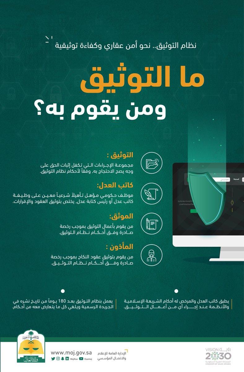 وزارة العدل A Twitter ما التوثيق ومن يقوم به نظام التوثيق