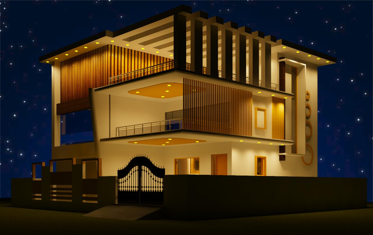 Exterior elevation for the modern building..!!  Modular home in 3D view. We can also design for you at a reasonable cost. If you need a design, contact us at  #interior #interiors #interiordesigner #Interior_Design #interiordecorating #interior #interiordecor #homedesign pic.twitter.com/pXh8a4pUnw