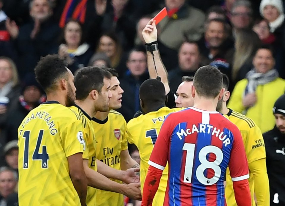"Mikel Arteta on the use of the VAR screen pitch side: ""I don't understand the rules, since I have been in this country over the last year I've never seen a referee check any of the images.""   It's been used twice this season. On each occasion an Arsenal player has been sent off.<br>http://pic.twitter.com/AA13ADBytL"