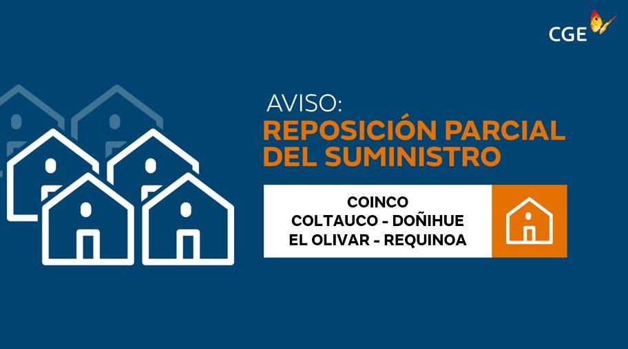 RT @CGE_Clientes #Coinco #Coltauco #Doñihue #ElOlivar #Requinoa Informamos a nuestros clientes que personal en terreno se encuentra trabajando progresivamente para normalizar los suministros. @RNEOHIGGINS @RNECharlie6 PF/RT