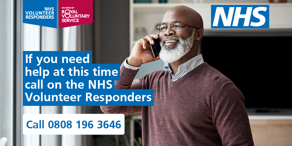 The #NHSVolunteerResponders are ready to:  ✔Deliver food shopping and essentials  ✔ Make regular friendly phone calls  ✔ Pick up your prescribed medicines   Register for support on 0808 196 3646. https://t.co/x0Rjdf9gVU