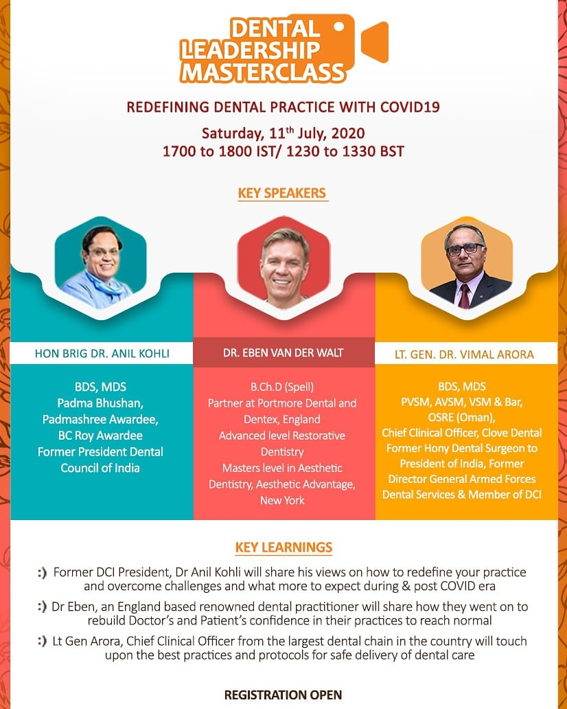 Only trust & safety can help us bounce back & re-build faith in #dentistry. Join the #DentalLeadershipMasterclass for expert views on how to redefine #dentalpractices, overcome challenges & rebuild confidence. 🗓️Sat, 11th July; 5pm-6pm IST Register: bit.ly/2BB9miL
