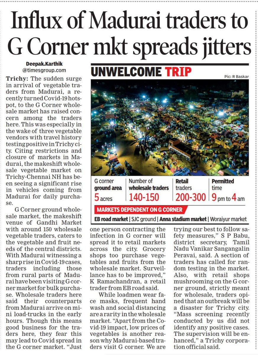 Traders from Madurai visiting Trichy vegetable market in G-corner brings fears among the citizens  #trichy #திருச்சி https://t.co/oHo3cbBPs4