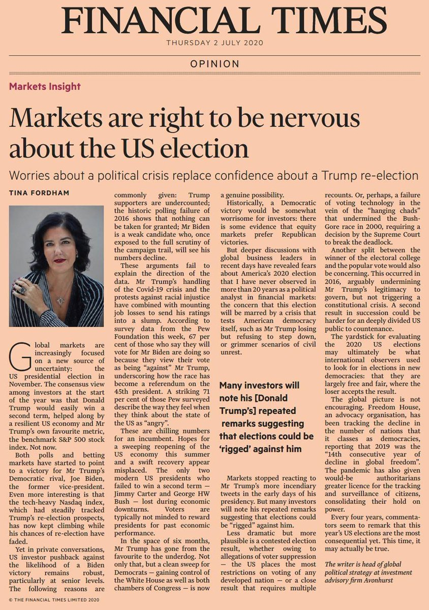 My @FT #MarketInsights column warning of the existential risks to democracy and arguing that the bar for #US2020 elections will be how we used to judge elections in new EM democracies. @AvonhurstLLP @katie_martin_fxpic.twitter.com/0kYFAzEP6J