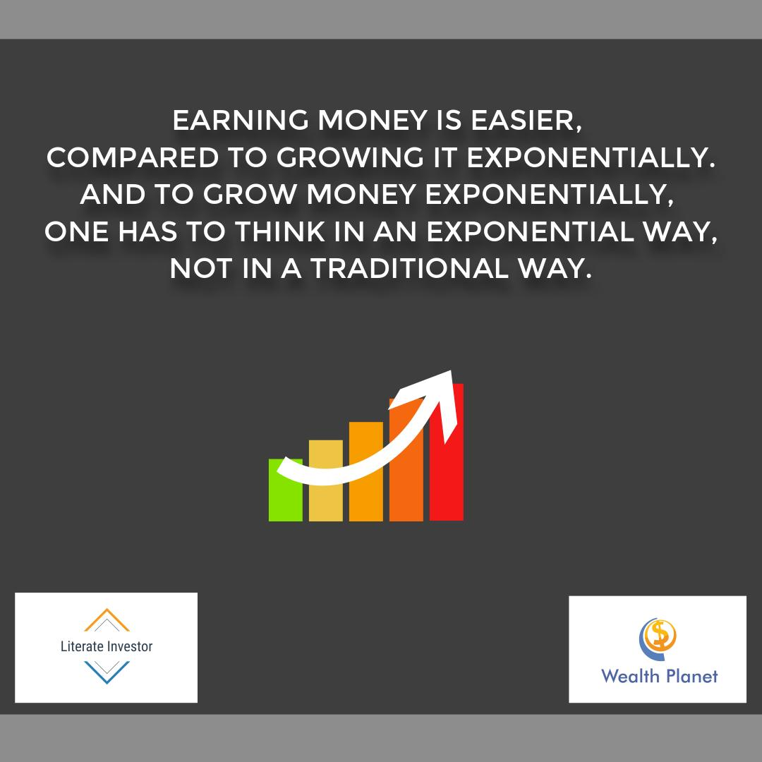 Earning money is easier,compared to growing it exponentially. And to grow money exponentially,one has to think in an exponential way,not in a traditional way. #literateinvestor #wealthplanet #sensex #moneymanagement #GrowthMindset #AatmaNirbharBharat #COVID19pic.twitter.com/29CZNWwfKO