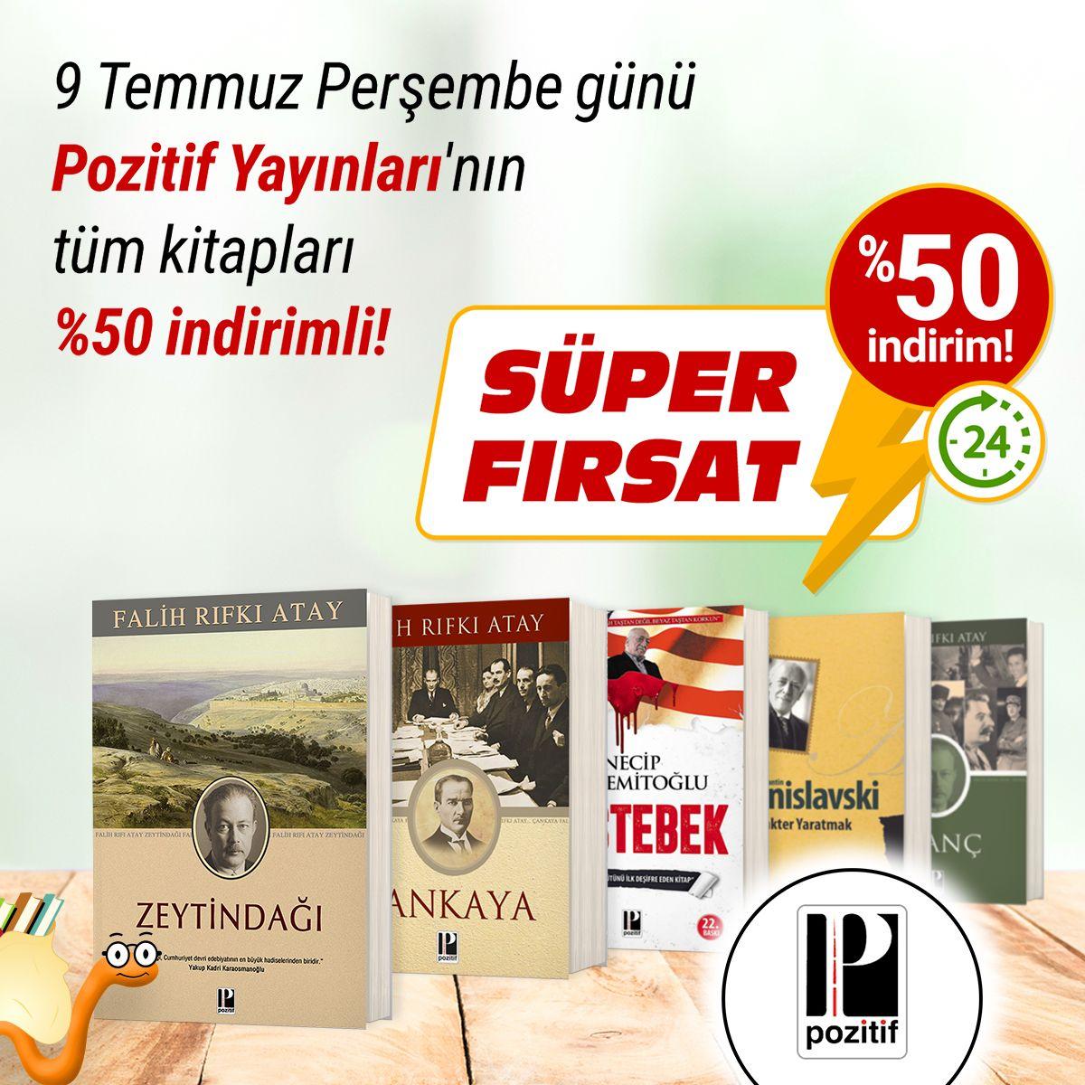 SÜPER FIRSAT! 🔥 9 Temmuz Perşembe günü Pozitif Yayınları'nın tüm kitapları %50 indirimli! 🎁📚 Kitapları incelemek için👉 https://t.co/jONiK6Mb45 #kitap #kitapyurdu @pozitifyayinevi https://t.co/Ntcu7rw3Ge