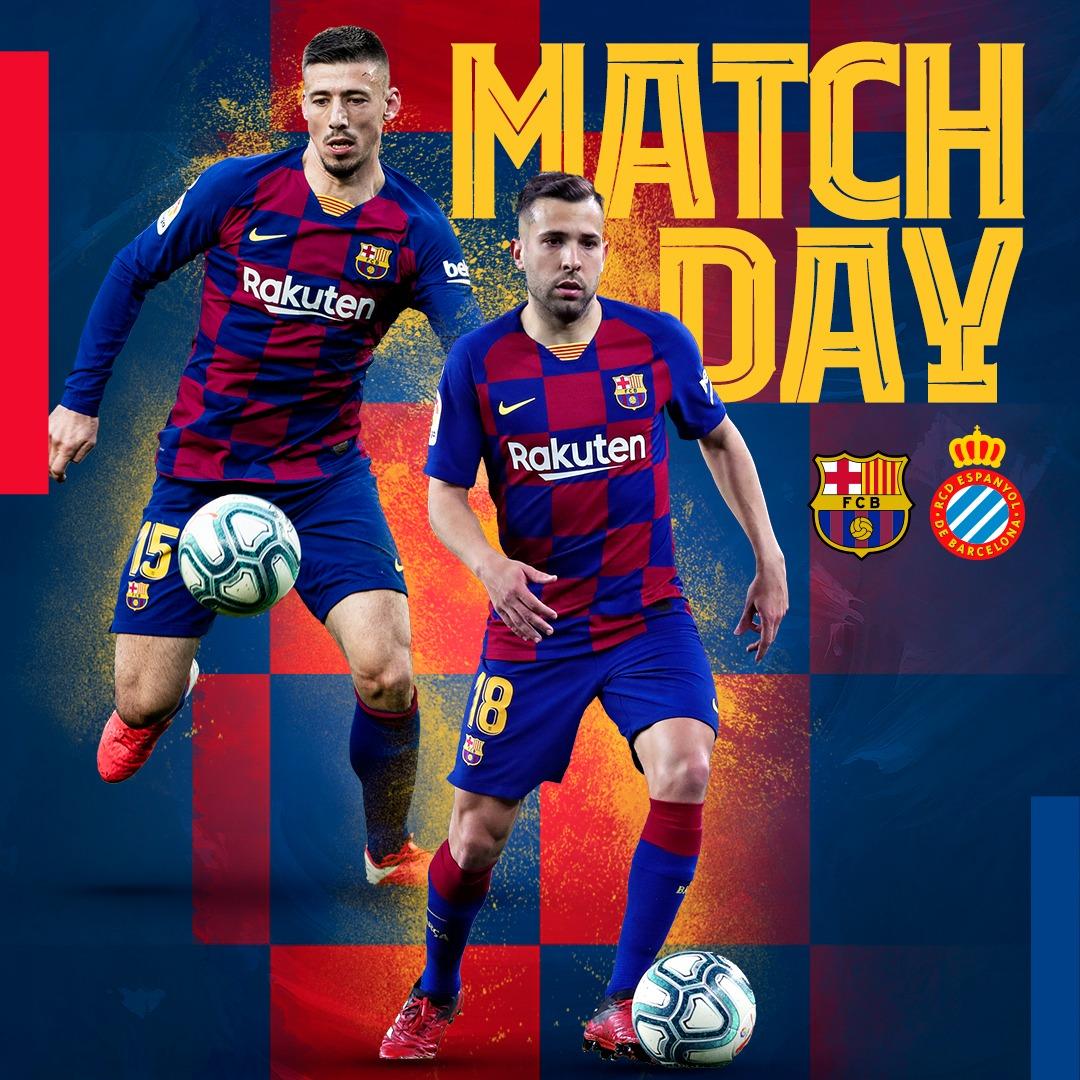 🔥 DERBY DAY! 🔥 🆚 @RCDEspanyol 🏟 Camp Nou 🏆 @LaLigaEN ⏰ 10pm CEST 📲 #BarçaEspanyol