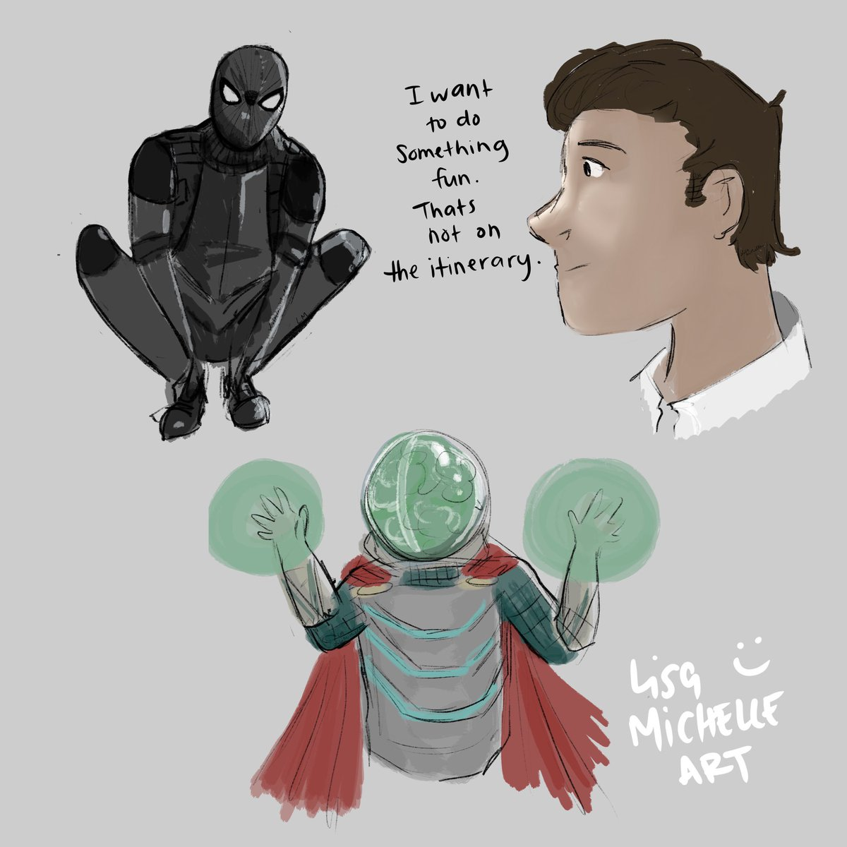 Some sketches I did while watching Spider-Man Far From Home. Eeeep I love this film! #spiderman #marvel #farfromhome #Spidermanfarfromhome #tomholland #jakegyllenhaal #mysterio #marvel #sketches #procreate #drawing #comicspic.twitter.com/OzpKW9fRdJ