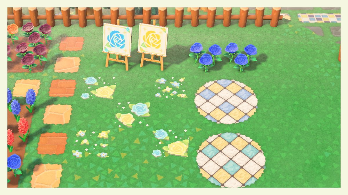 アオナダ欲張りセット・道に貼れるタイル・バラと小花・看板やイーゼルとして飾れるバラのイラストだいぶ増えたのでまとめて投稿!うちの子イメージですが普通のデザインとしても使えます。青と黄色がお好きな方是非どうぞ😊#どうぶつの森 #あつ森 #マイデザイン