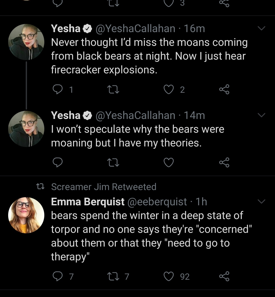 @YeshaCallahan Two tweets in a row of unadulterated bear content