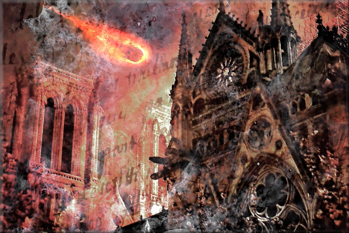 Notre Dame Cathedral - Paris France - Fire in the Sky https://t.co/Apl71Udj8Y  #art #artist #MemorialArt #NotreDame #Paris #Cathedral #Surrealism #SurrealArt #history #Paris #France https://t.co/v90vHxpp6M