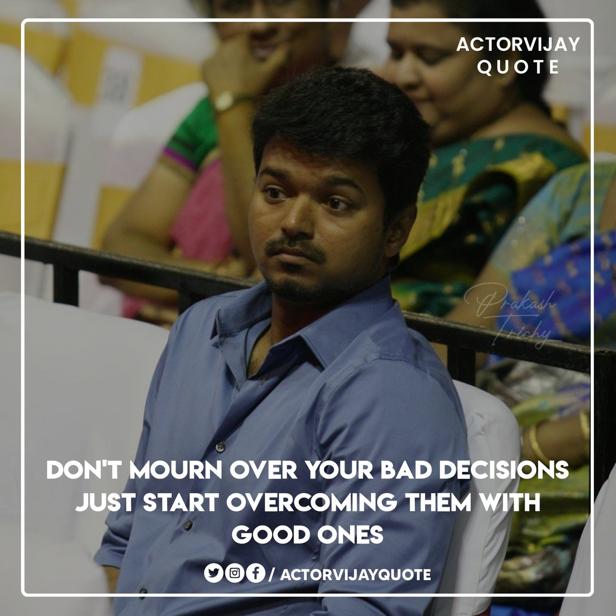 Don't mourn over your bad decisions just start overcoming them with good ones.  ✓ #Master • @actorvijay #ThalapathyVijay #SpreadVIJAYism #actorvijayquote  #motivation #success #Inspiration #quoteoftheday #quotes #quote #leadership #motivational pic.twitter.com/fvKqVKXIjE