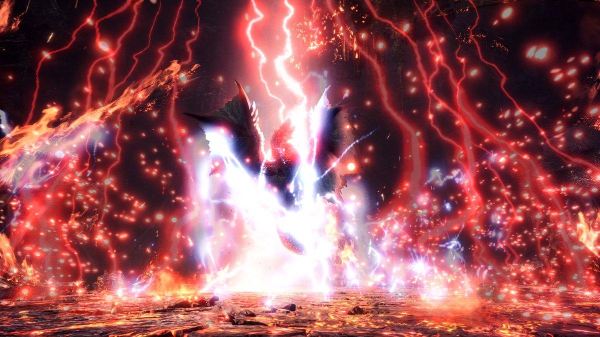 ▼強力な衝撃波「エスカトンジャッジメント」アルバトリオンが属性を切り替えていくと、強力な衝撃波「エスカトンジャッジメント」を放つ。これを封じ込めていくためには、アルバトリオンの強力な攻撃をしのぎ、属性による攻撃で「エスカトンジャッジメント」の威力を弱体化させていくことがポイント