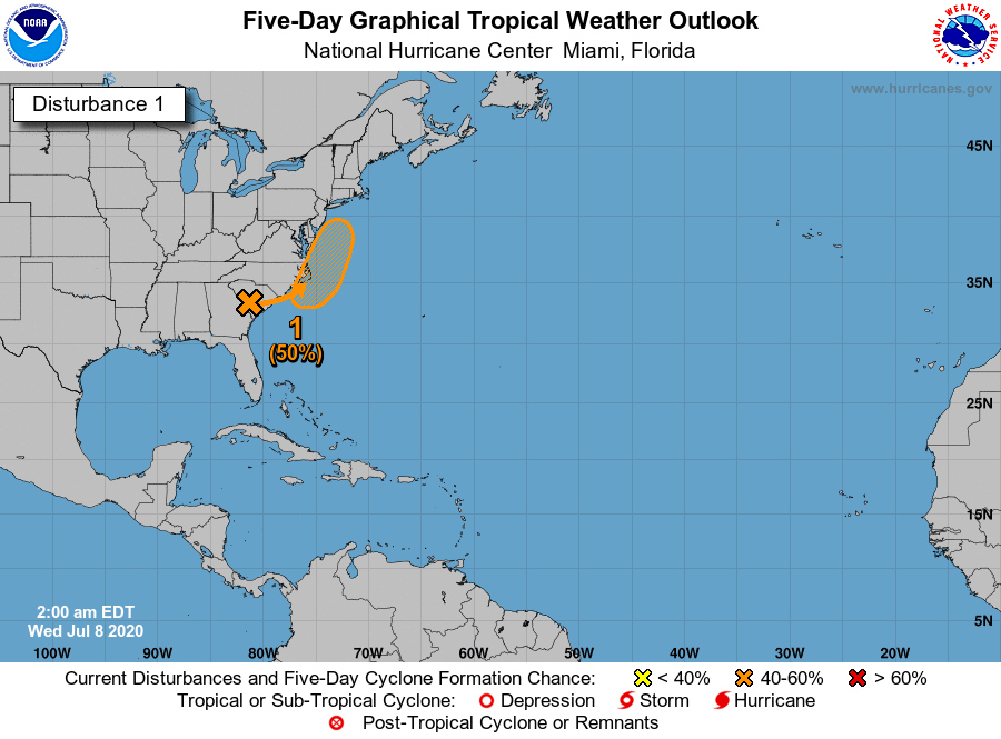 An area of low pressure over South Carolina will likely move offshore later today or tonight.  This system has a 50% chance of becoming a tropical or subtropical system later this week off the Carolina or mid-Atlantic coast.  For more information, visit https://t.co/tW4KeFW0gB https://t.co/v57GyQEFVY