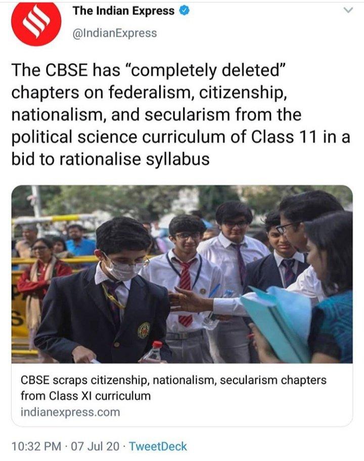 Jiske Baare me padhega nhi India, Usko lekar ladega nhi India.  #CBSENews #CbseSyllabusReduced #rationalisedsyllabus #democracy https://t.co/EA6sGEfCj2