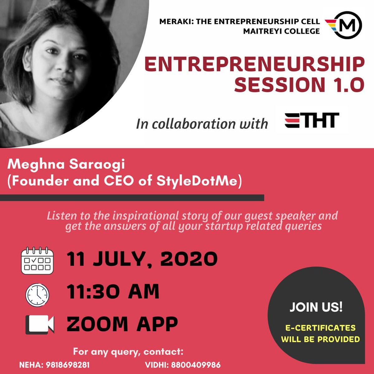 The Hustler Team and the MERAKI- THE ENTREPRENEURSHIP CELL of @Delhiuniversit brings an exclusive opportunities for the students to interact with India's Youngest Fashion Entrepreneur @Meghnasara , Founder & CEO @styledotme  Register Now on https://t.co/Khdqou8G1q  #startups https://t.co/jcjFbfb3Hs