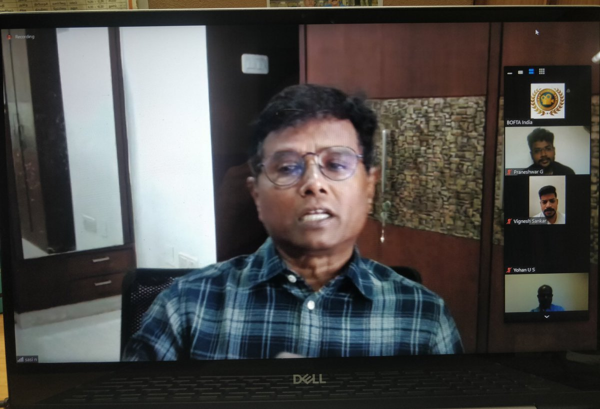 Over 80 participants for the @BOFTAindia Webinar by Director #Sasi sir is on now ...huge response 👍👍👍