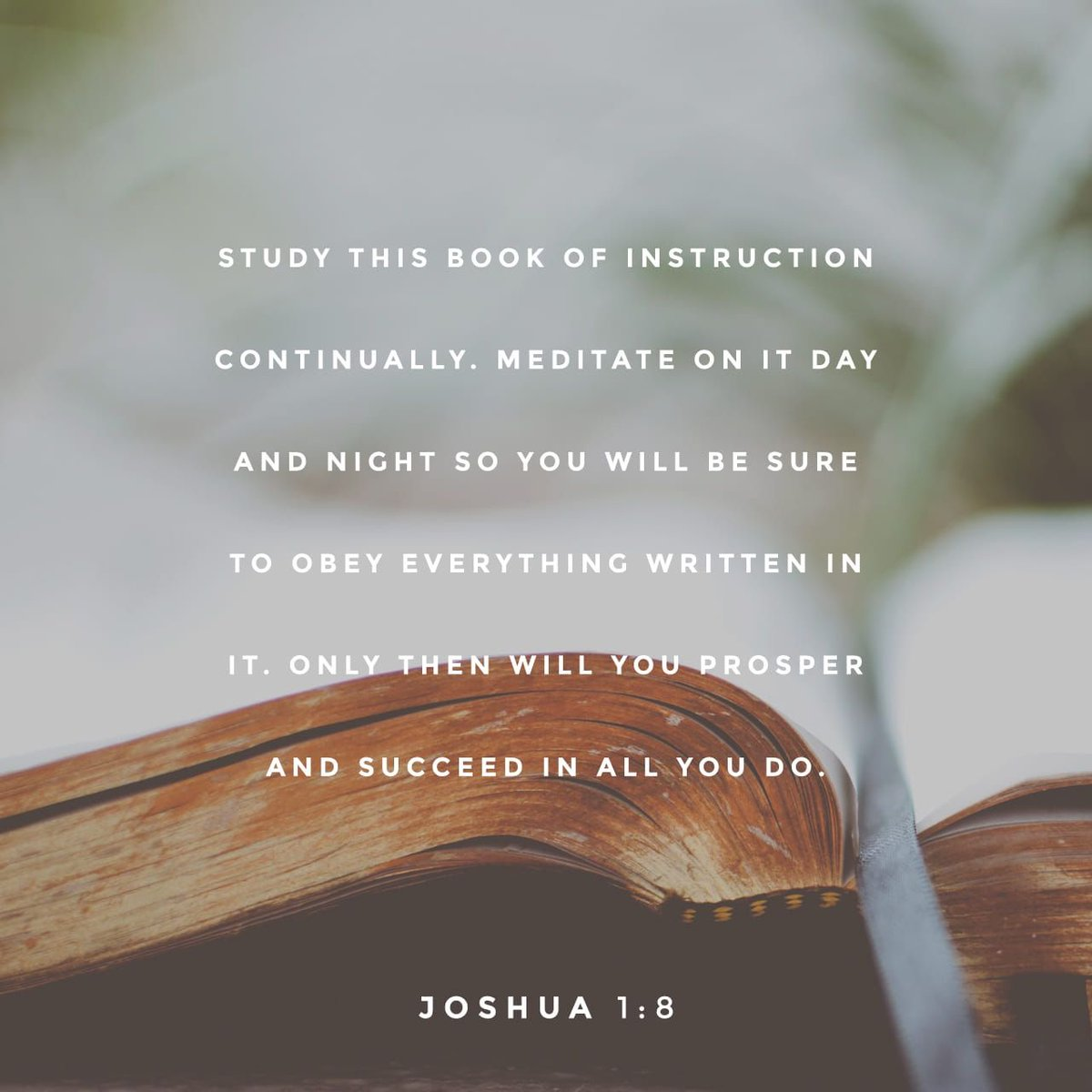 """""""This Book of the Law shall not depart from your mouth, but you shall meditate in it day and night, that you may observe to do according to all that is written in it. For then you will make your way prosperous, and then you will have good success."""" Joshua 1:8<br>http://pic.twitter.com/wCSagf7AZ3"""