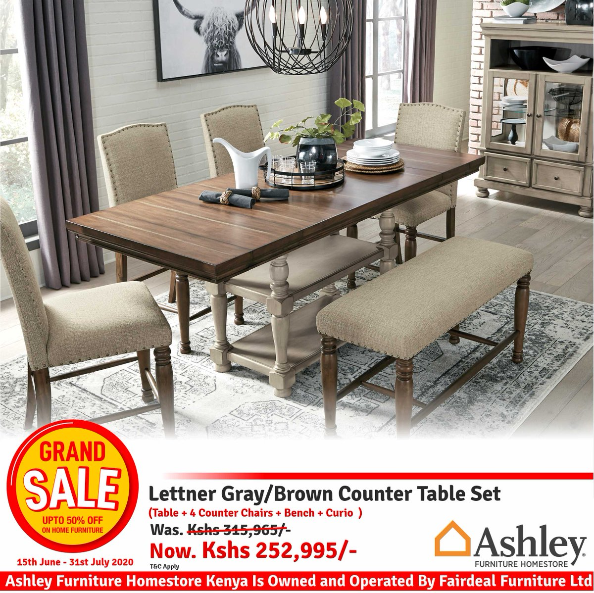Break from tradition with a fresh approach: this counter height dining room set is sure to take you on. Visit @Ashleyfurn_KE on first floor🍽🍽   #GrandSale #HomeFurnitureGrandSale #AFHKGrandSale #GrandFurnitureSale https://t.co/SSwuu2rv3c