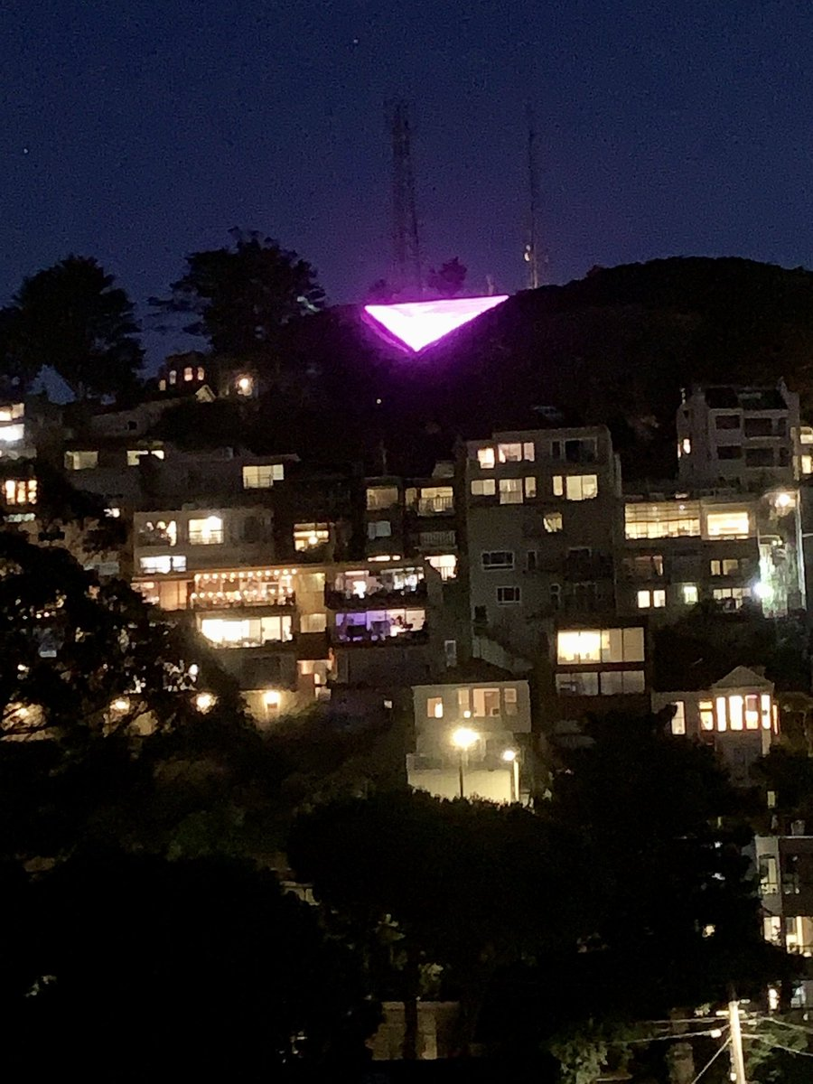 View of the Pink triangle on Twin Peaks from Kite Hill. #PRIDE2020 https://t.co/vnpvsAbSiw