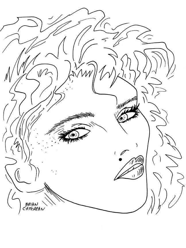 My tribute portrait illustration of Madonna from the 80's! #Madonna #portrait #illustration #art #ink #drawing #music #album #design #artwork #tribute #80s #singer #musicians #poster #freelance #artist #illustrator #forhire