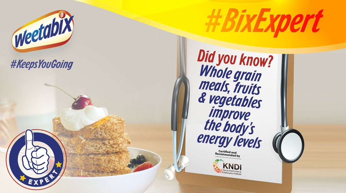 Whole grain meals like Weetabix are known to improve energy levels in the body. Switch things up by replacing soft drinks and fast food with whole grain cereals, fresh fruit and vegetables.  #BixExpert #HelloChange https://t.co/XwjE0kn4Ah