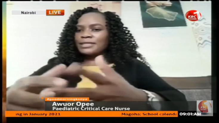 HEALTH CARE WORKERS  Awuor Opee a pediatric critical care nurse: I have gone an extra length to take care of myself mentally and emotionally. My nutrition has also gone a notch higher #GoodMorningKenya @Doreenarange @RayManyara @RamAguko ^PWpic.twitter.com/n5Hwre0Tbx