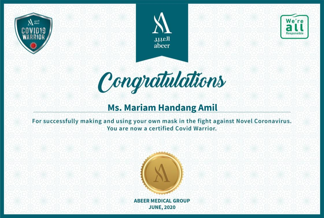Congratulations to #Covid Warrior Ms. Mariam Handang Amil  Refer the following link for details: https://t.co/DuoZWB4wI9  #myownmask #Faces_Dont_Matter_Masks_Do #AbeerCares #SaudiArabia https://t.co/AnGt2NdtpM