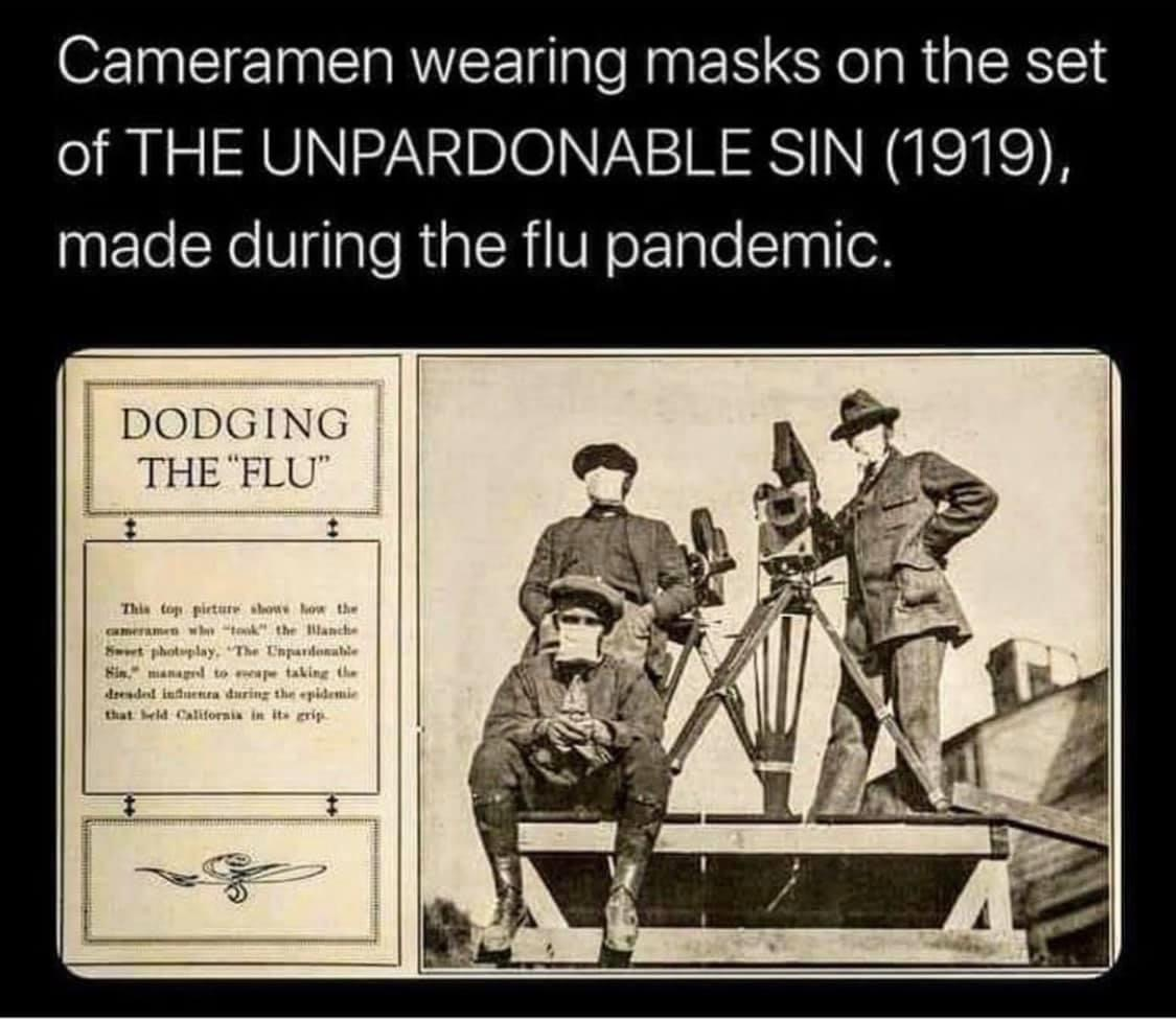 #ThrowbackThursday - Crew wearing breath masks #onset while shooting The Unpardonable Sin during the #spanishflu pandemic. http://ow.ly/qiAr50AsvOn . #silentsmovies #blanchesweet #setlife #ushistory #oldhollywood #tbt #TBThursday #pandemic #setlife #lifeonsetpic.twitter.com/f8HyIPK7bV
