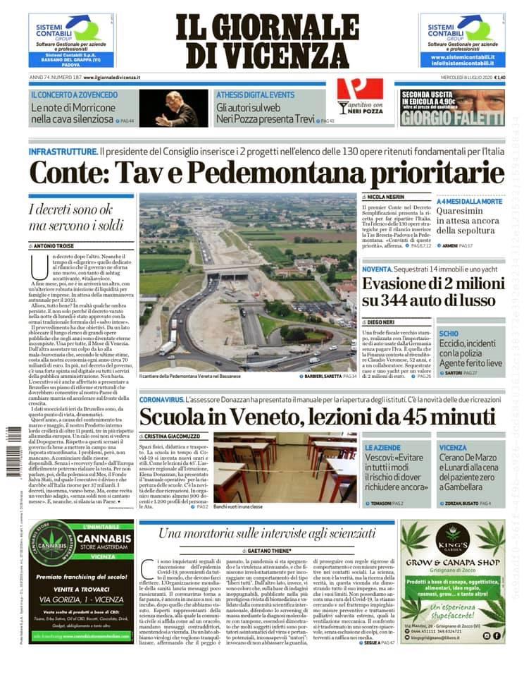Ecco la prima pagina de Il Giornale di #Vicenza in...