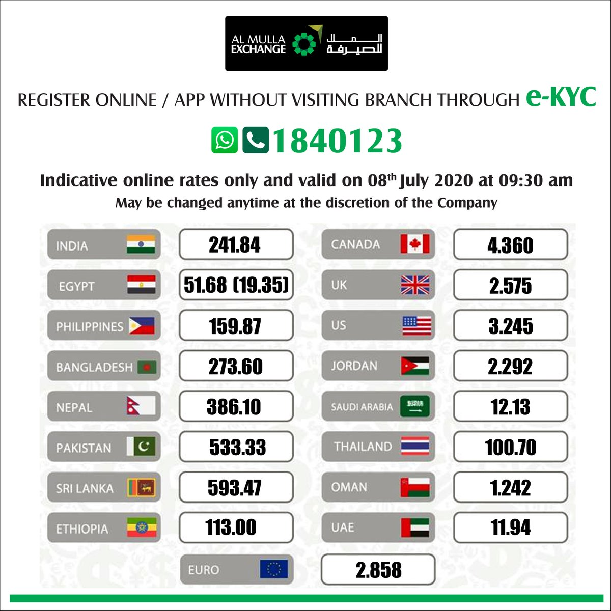🔺E-KYC🔺 Now Register Online / App without visiting branch ☎️ WhatsApp/Call 1840123 to get started. 📱💻 #AlMullaExchange #Kuwait #Remittances https://t.co/T1TkeCTpma