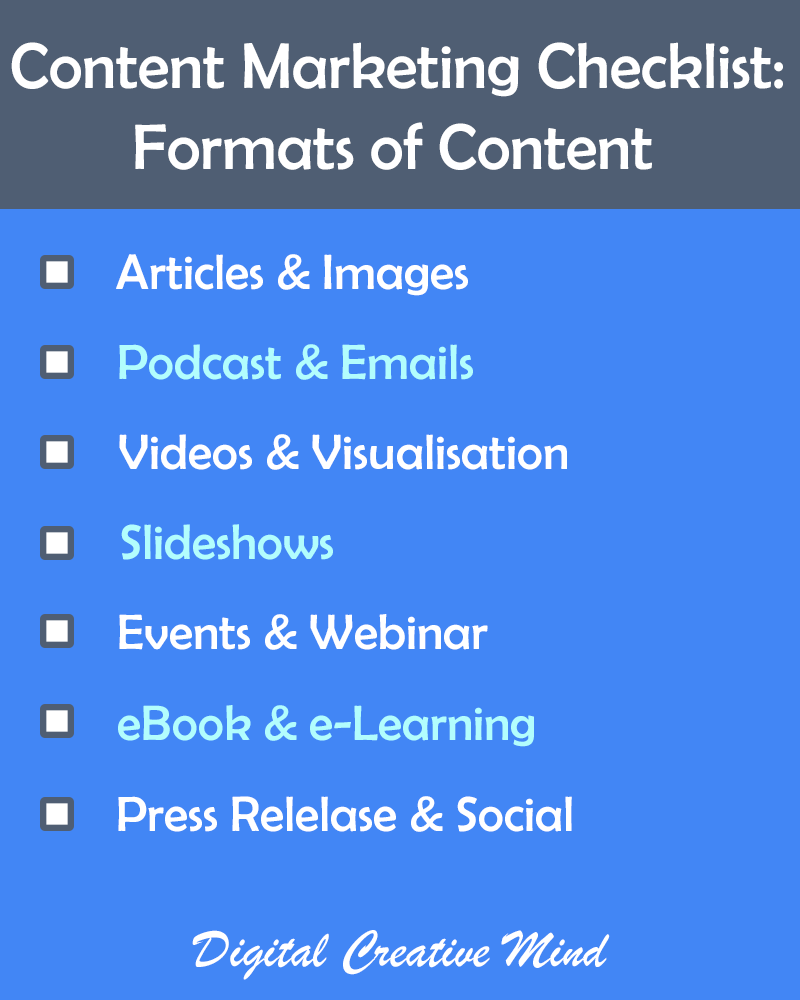 Most useful #ContentMarketing Formats to Boost Your Traffic:  Articles & Images Podcast & Emails Videos & Visualization Slideshows Events & Webinar eBook Press Release  #DigitalMarketing #socialmedia #content #blogging #growth #marketing #WednesdayWisdom #SMMpic.twitter.com/Yyn3s7oVdW