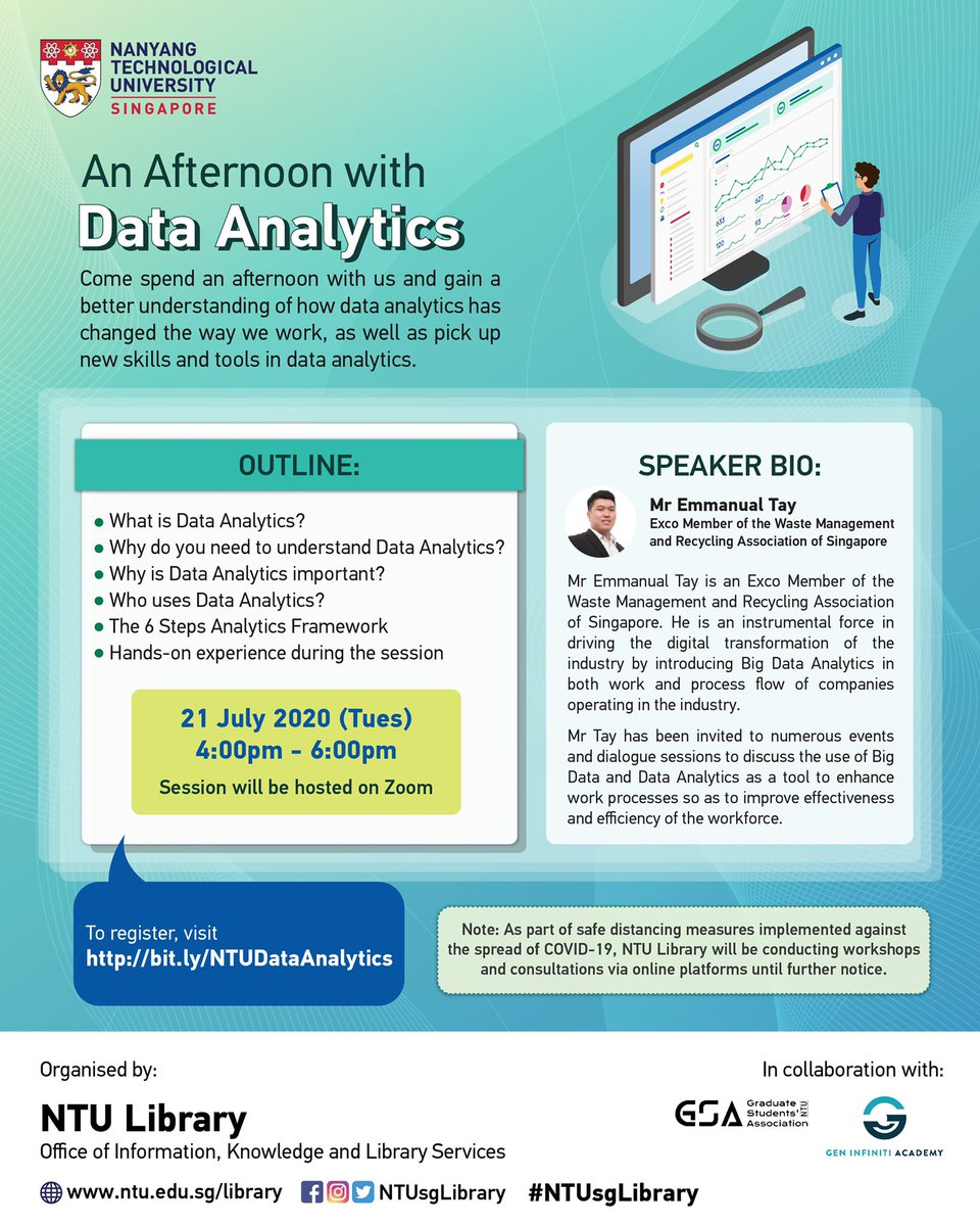 [Online workshop] How do you analyse a large data set?   Join us and pick up new skills  and tools in this introductory to Data Analytics.  To register, visit http://bit.ly/NTUDataAnalytics …  #Datanalytics_NTUsgLib #Datanalytics #NTUsgLibrarypic.twitter.com/RVb8gcFcB9