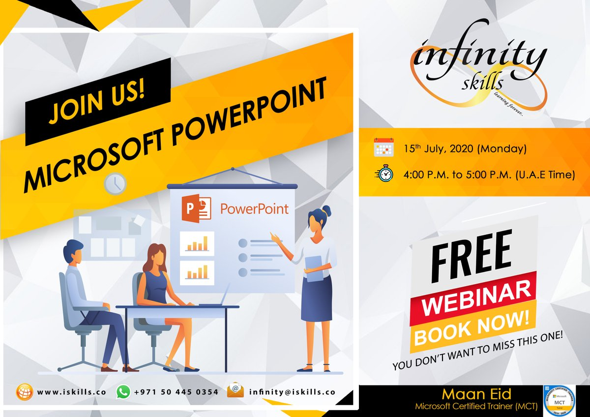 Register for our free Microsoft PowerPoint webinar on 15th July at https://t.co/1SX1UCADZu  If you are interested, don't miss this rare opportunity and ENROLL NOW for FREE!  #ISTS #UAE #AbuDhabi #Dubai #bahrain #UAE #KSA #Training #ISTS #softskills #technicalskills #EXPO2020 https://t.co/daOFnqshuv