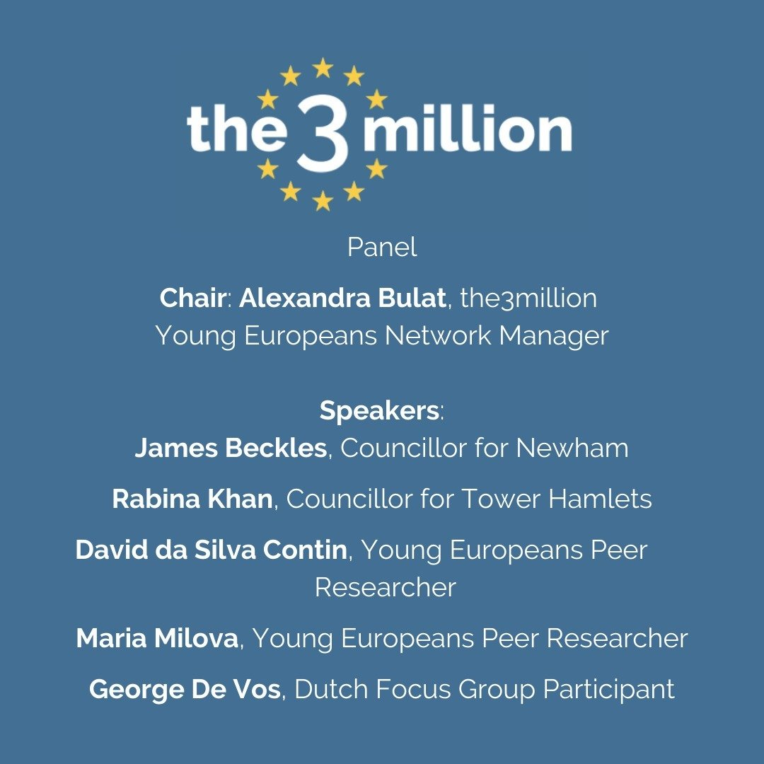 The 20-minute documentary screening will be followed by a panel discussion with local councillors @RabinaKhan and @James_Beckles and our Young Europeans peer researchers @dasilvacontin and Maria Milova, and George de Vos who was interviewed for the documentary.