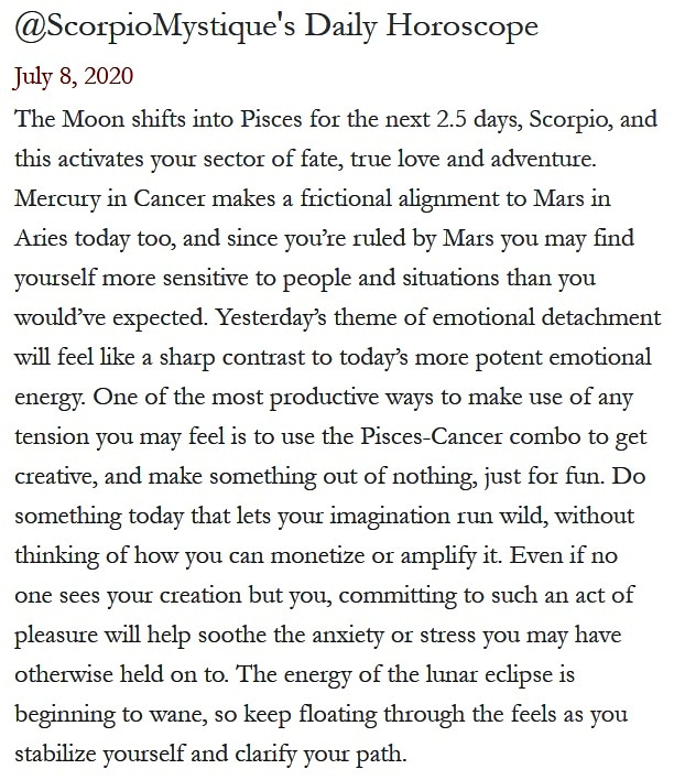 #SMscope 7.8.2020 ♏️❤️✨ #TeamScorpio #Horoscope #Astrology 🦂 #ScorpioMystique