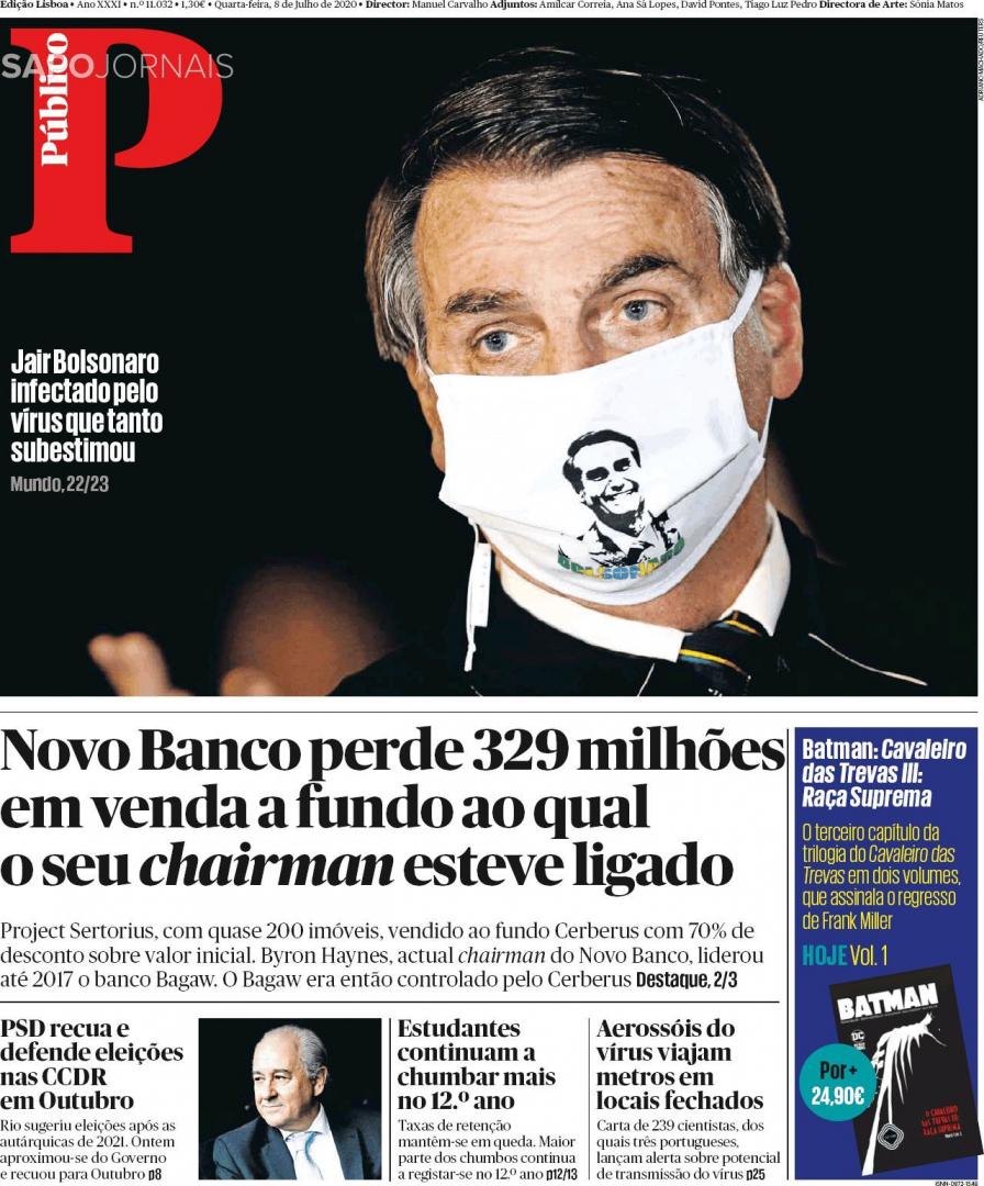 Os destaques da imprensa desta quarta-feira:  Público : Jair Bolsonaro infetado pelo vírus que tanto subestimou. i : 10 anos de Carlos Costa como governador do Banco de Portugal chegam ao fim.  https://t.co/L6rXmBkzai https://t.co/eWzeAv4Ndi