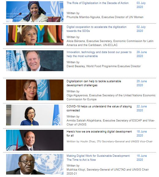 What role do @UN leaders see for digitalization in the wake of #COVID19? Follow the #UNGISDialogue to find out. bit.ly/UNGISdialogue Contributors so far include @DrMukhisaKituyi, @ITUSecGen, @UN_Armida, @algayerova, @WFPChief, @aliciabarcena and @phumzileunwomen.