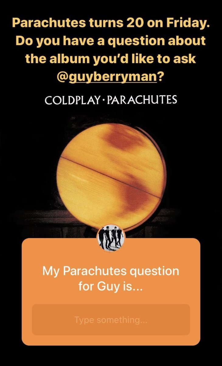 Guy is taking your questions about Parachutes over on the band's Instagram Stories, ahead of the album's 20th birthday on Friday. Head over there now to ask him one (and look out for Guy's answers later today). A instagram.com/coldplay
