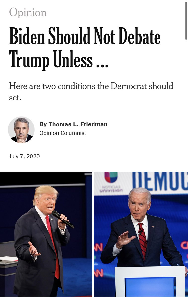 The New York Times is already making up excuses for Biden ducking the debates.