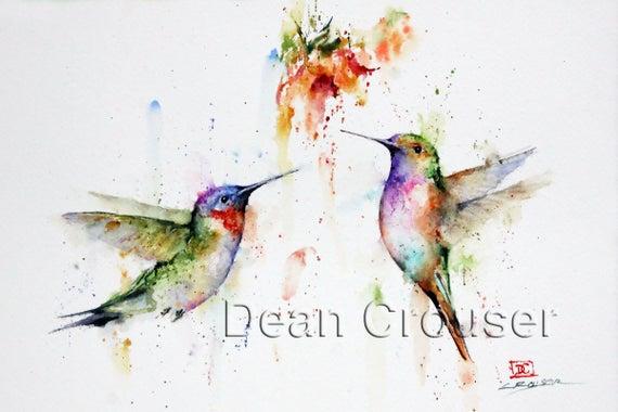 HUMMINGBIRD PAIR Watercolor Bird Art Print by Dean Crouser by DeanCrouserArt Take a look #hummingbirdart #watercolorhummingbird #crouserart https://etsy.me/2FHddbgpic.twitter.com/GWbr7ST2Ti