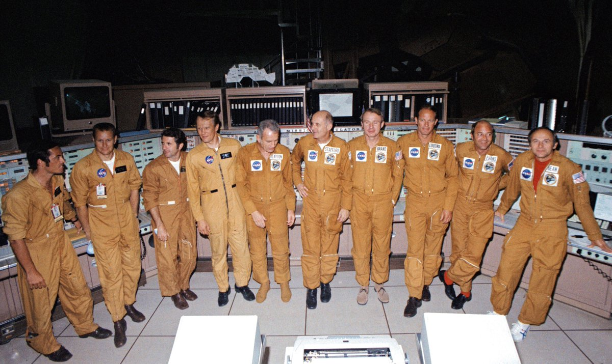 With just one week remaining until launch for the historic Apollo-Soyuz Test Project, the astronauts and cosmonauts, in strict medical isolation, finished their training and arrived at the launch sites in Florida and Kazakhstan, prepared to make history. https://t.co/gIvOZFZFvR https://t.co/QWUzyMTYqj
