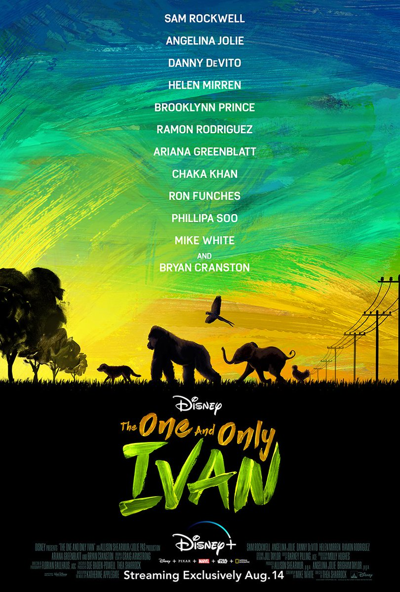 The One and Only Ivan is streaming exclusively on #DisneyPlus starting August 14. 🐕 🦍 🦜 🐘 🐓