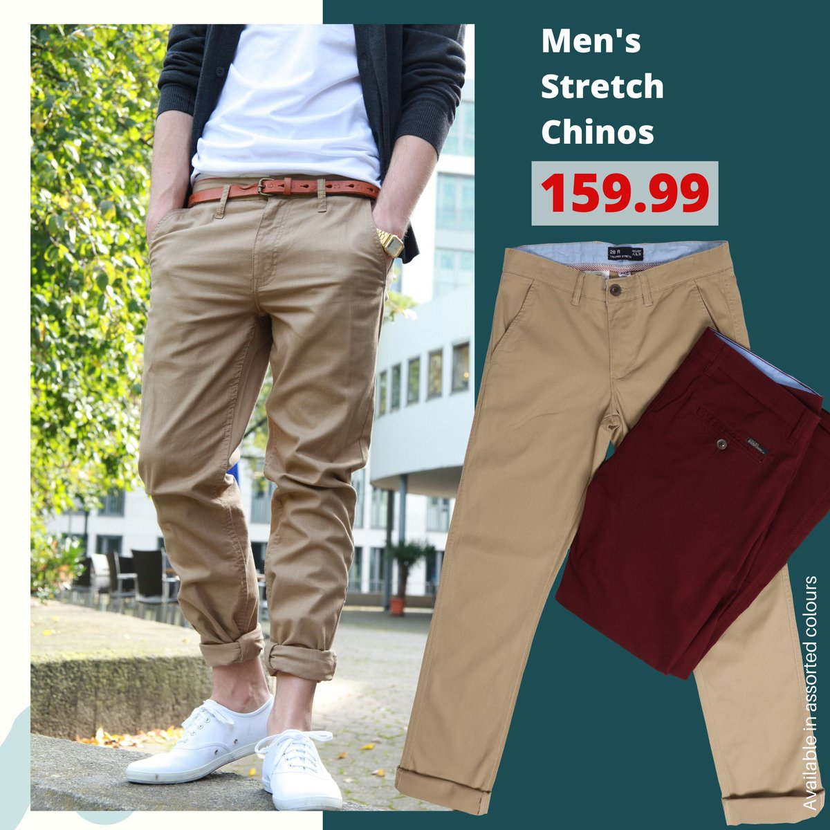 Men's Stretch Chinos 159.99  Available in assorted colours. #choiceclothing #wearchoice #menswear #chinos
