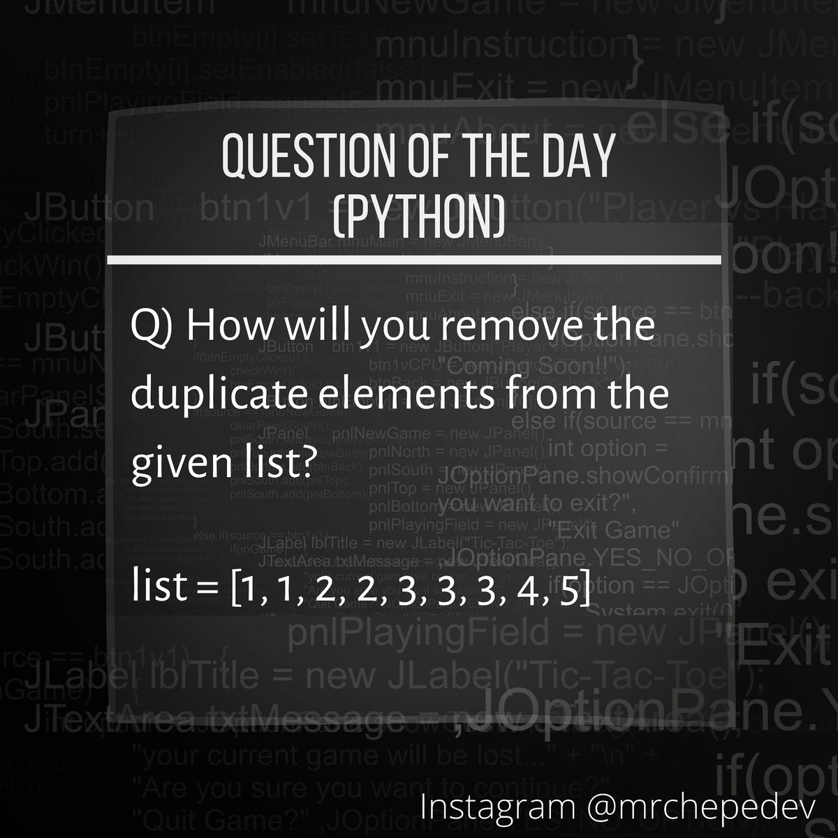 What will be your  approach? Can you do it without any extra space? . . . . . #question #questionoftheday #programming #coding #codinglife #python #java #c++ #react #solution #complexity #bigoh… https://www.instagram.com/p/CCYbTDJn1eW/?igshid=ac53zfsrh3g4…pic.twitter.com/kwIgFmS9MQ