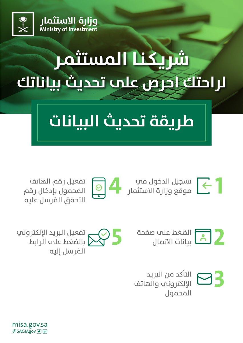 شريكنا المستثمر، للاستفادة من خدمات #وزارة_الاستثمار في بيئة إلكترونية آمنة، احرص على تحديث بياناتك ومعلوماتك عبر الموقع الإلكتروني لوزارة الاستثمار  https://t.co/dDLjChAwcb #استثمر_في_السعودية https://t.co/bySXaUOuPp