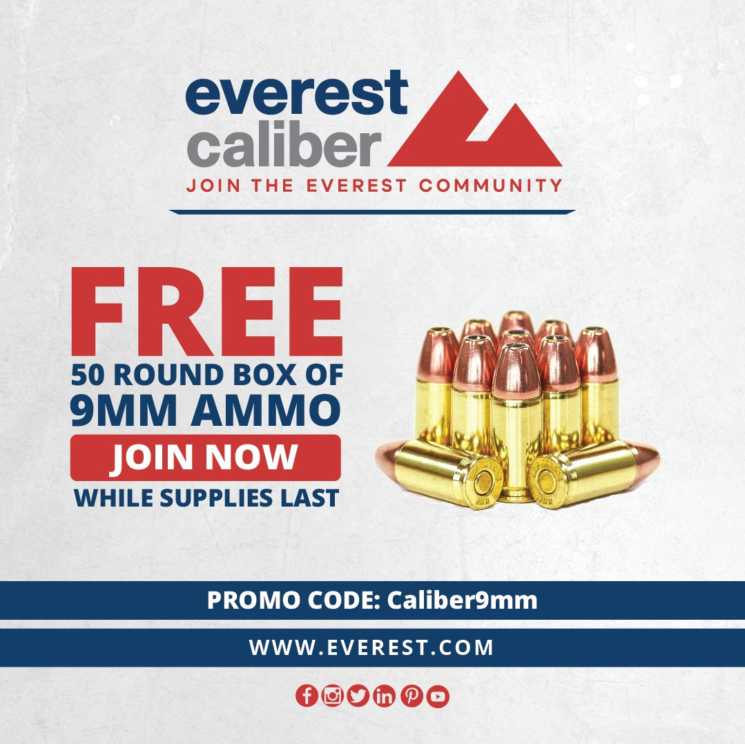 Purchase your Everest Caliber Membership TODAY and receive a 50-round box of 9mm ammunition and more exclusive benefits!   Promo code: Caliber9mm Sign Up: https://t.co/dS82AgRn5W   #CaliberMember #Everest #GetOutThereUSA #BeyondTheLimits #MITUSA #WhatsYourEverest #CaliberVideo https://t.co/FLVPoGbvpM